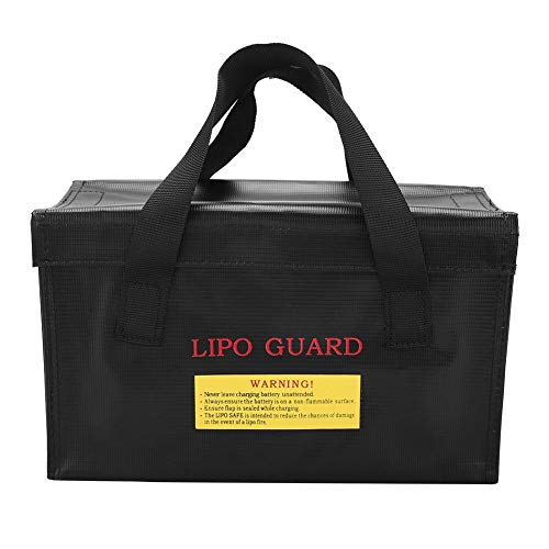 FTVOGUE Bolsa de almacenamiento para baterías Lipo a prueba de explosiones, tamaño grande, color negro