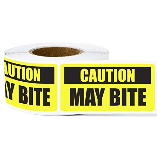 1 Roll - Caution May Bite Label for Animal Warning, covid 19 (Caution 1 Roll coronavirus)