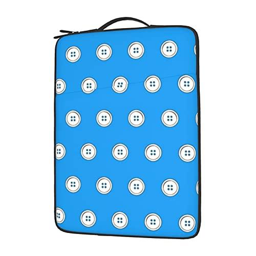 Funda para portátil de 13 a 15,6 pulgadas, con botones blancos en azul, resistente al agua, de neopreno, compatible con ordenadores y...