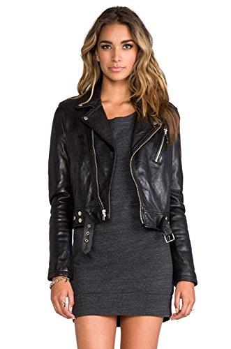 SID Women's Lambskin Leather Biker Black Jacket
