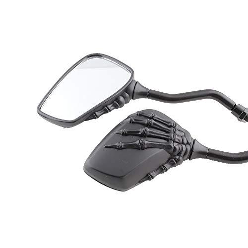 DREAMIZER Motorcycle Skull Mirror Rear view Side Mirrors Black 8MM 10MM Rearview Handlebar Mirror for Scooter Chopper Bobber Cruiser Street Bike Sports Bike