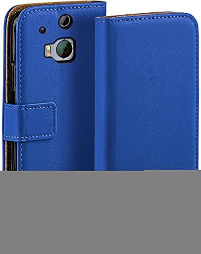 moex Klapphülle für HTC One M8 / M8s Hülle klappbar, Handyhülle mit Kartenfach, 360 Grad Schutzhülle zum klappen, Flip Hülle Book Cover, Vegan Leder Handytasche, Blau