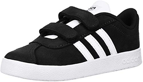 adidas Kids' VL Court 2.0, Core Black/White/White, 7.5 M US Toddler