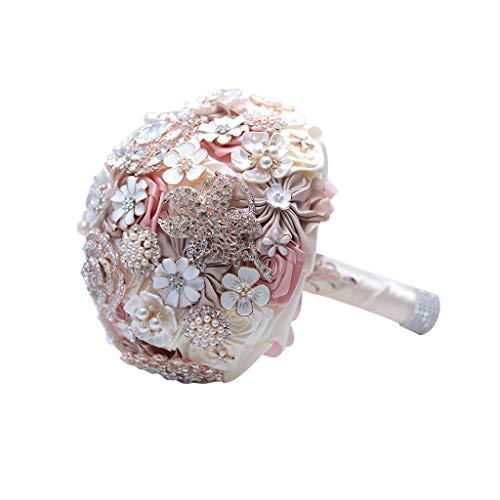 JYDQM Seda Wedding Flowers Rhinestone Jewelry Blush Pink Broche Ramo Oro Brocha Broche Vestido de Novia Boda Bouquet
