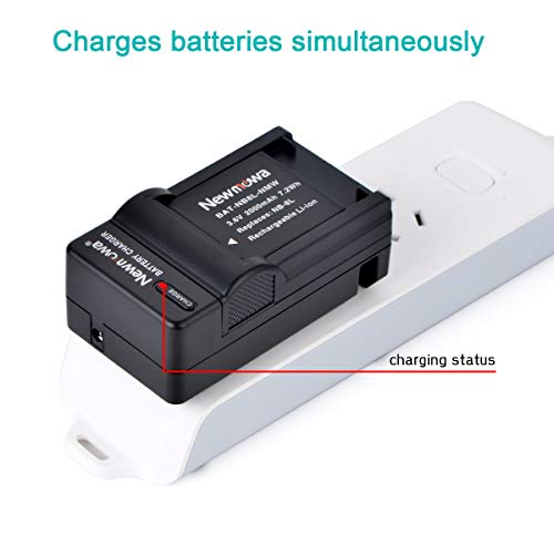Newmowa NB-8L Replacement Battery (2-Pack) and Charger Kit for NB-8L,CB-2LA and PowerShot A2200, A3000 is, A3100 is, A3200 is, A3300 is