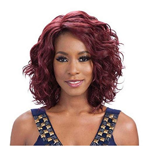 Corto rojo ondulado pelucas de reemplazo de cabello sintético para mujeres mujeres...