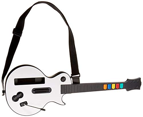 White Wii Guitar Wireless Hero and Rock Band Guitar Controller for Guitar...