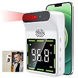 Termómetro infrarrojo de pared, termometro infrarrojos sin contacto montado en la pared Poste de Control de Temperatura Corporal Automático de Entrada Exterior o Interior con alarma(Bianca)