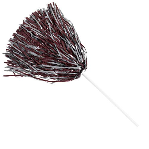 Anderson's Spirit Shaker Stick Pompoms - Maroon and Gray, Package of 10