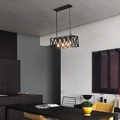 Industrial Kitchen Island Pendant Lighting, Pynsseu Rectangular Vintage Rustic 4-Light Hanging Pendant Light Fixtures for Kitchen Farmhouse, Bar, Dinning Room