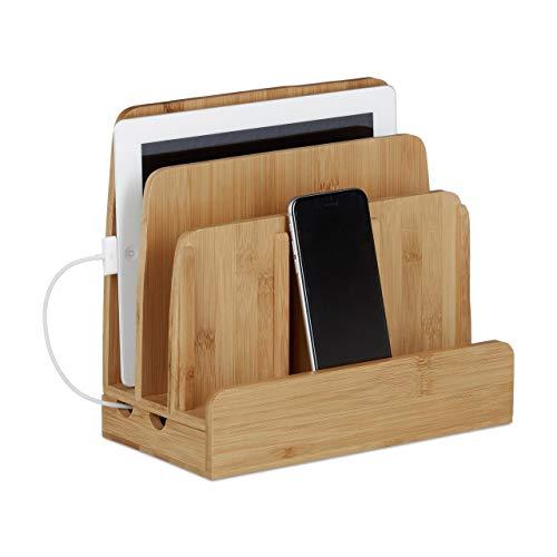 Relaxdays Ladestation Bambus, Ladestationhalter, 3 Ablagen, Smartphone, Handy, Tablets, HBT: 23 x 25,5 x 13,5 cm, natur