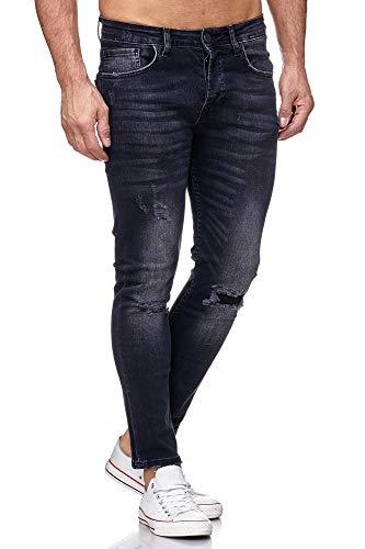 Tazzio Jeans Skinny Fit Herren Jeanshose Stretch Designer Hose Denim Schwarz (17514) 31W / 32L