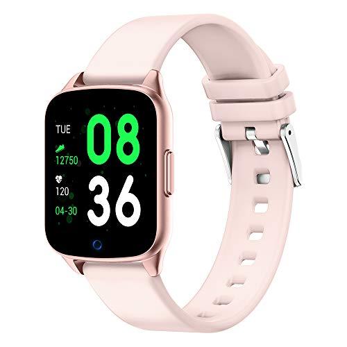 Gute Bluetooth Smart Watch mit Fitness Tracker Pulsuhr Blutdruck Aktivität Schlafüberwachung Anrufe SMS Benachrichtigung Fernbedienung Kamera, Damen, Rose