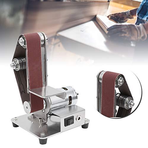 Lijadora de cinta multifunción portátil, lijadora de cinta de banco, mini amoladora de banco con doble rodamientos integrados y rueda de ajuste de la correa, 4500-9000r/min