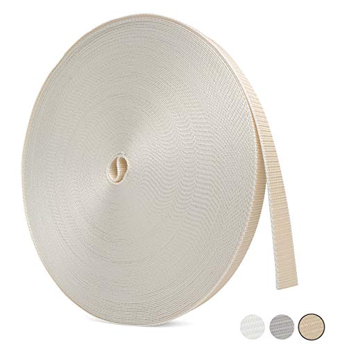 BAUHELD® Rolladengurt 23mm [Made in Germany] - 50m Rolle in 1,6-1,9mm Stärke - für Rolläden an Türen und Fenstern geeignet – Rolladen-Gurtband in Beige [Hohe Reißfestigkeit und UV-Stabilität]
