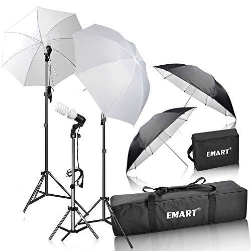 Emart - Set de iluminación para paraguas de fotografía (400 W, 5500 K, luz continua, luz LED para retratos y grabación de vídeo)