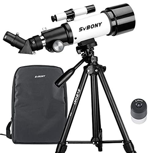 SVBONY SV501P 天体望遠鏡 子供 初心者 てんたいぼうえんきょう ぼうえんきょう 屈折式 70mm大口径400mm焦点距離 天体観測 星座 スマホ撮影 正像天頂ミラー 軽量 伸縮式三脚 収納バックパックと日本語説明書付き