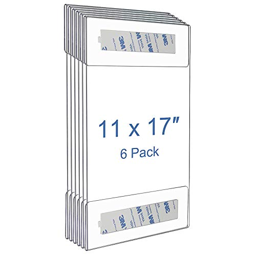 Niubee 6 Pack Acrylic Sign Holder 11 x 17 inches Wall Mount Sign Holders Clear Acrylic Frame with 3M Tape Adhesive Clear Poster Frames Plastic Sign Holder for Office, Home, Restaurant, Vertical