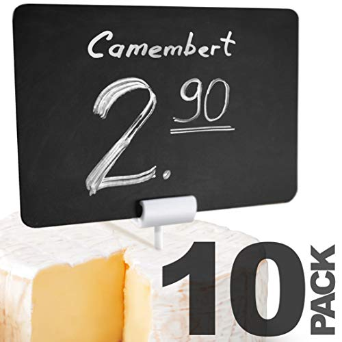 10 Pack Rustic Mini Chalkboard Signs with Pick - Cheese Labels - Easy to Write and Wipe Out - for Liquid Chalk Markers and Chalk - Food Labels for Party - Small Chalk Boards Signs for Food with Pin