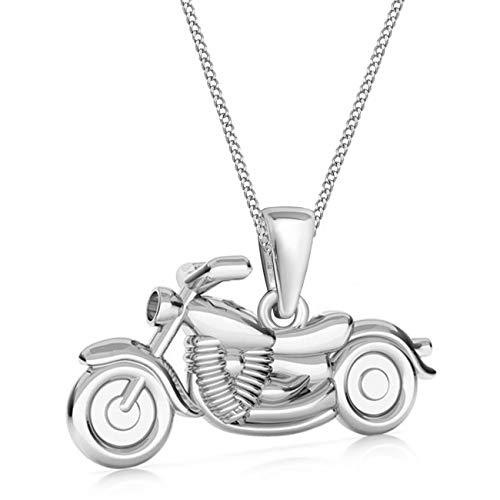 G-H 3D Kleine Motorrad Anhänger mit Halskette 925 Echt Sterling-Silber (2. Silber, 50)