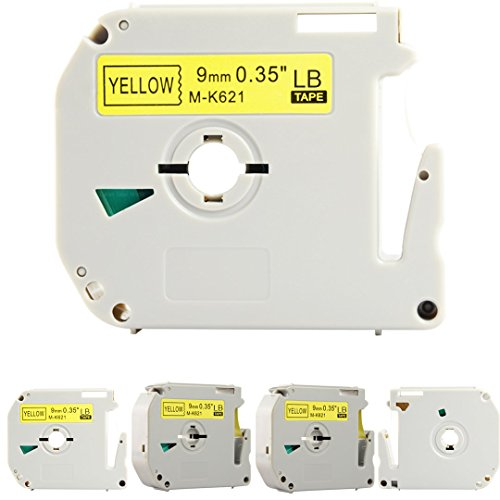 """Replace M621 M-K621 M-621 MK621s 0.35 Inch (3/8"""" x 26.3 Feet (9mm x 8m),Black on Yellow Label Tapes,Compatible for Brother P-Touch Label Makers PTM95 PT90 PT65 PT80 (9mm Black on Yellow, 5 Pack)"""