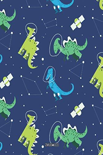 Kariertes Notizbuch - ZMUDACE: in DIN A5 Softcover | Dinosaurier Dino Weltall | Notizbuch mit persönlichem Register + Seitenzahlen | Tagebuch, ... Schulheft, Notizheft zum Selbstgestalten