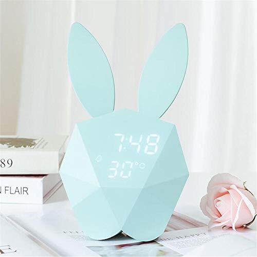 FPRW wekker, klein, nachtlampje, USB, oplaadbaar, smart-wandlamp, wandklok, cadeau voor Valentijnsdag Groen