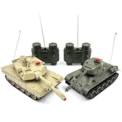 RCTecnic 2 Tanques Teledirigidos RC para Batalla por Infrarrojos M1 Abrams VS T-34 Escala 1:32   Pareja de Mini Tanques Radiocontrol de Combate para Niños