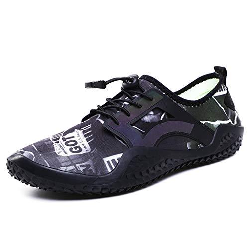 WXYPP Zapatos de Playa para Hombres de Verano Zapatos de Agua Transpirables Antideslizantes al Aire Libre Calcetines De Agua (Color : Black, Size : 45EU)