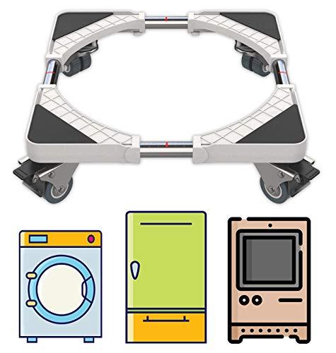 DEWEL Verstellbar Untergestell für Waschmaschine, 45-70cm Waschmaschinen Sockel für Waschmaschine, Kühlschrank, Trockner, Gefrierschrank, 4 Räder