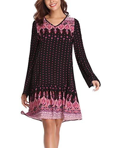 Abollria Boho jurk met V-hals en luchtige strandjurk met schouder Cut Out Bohemian print tuniek jurk voor zomer