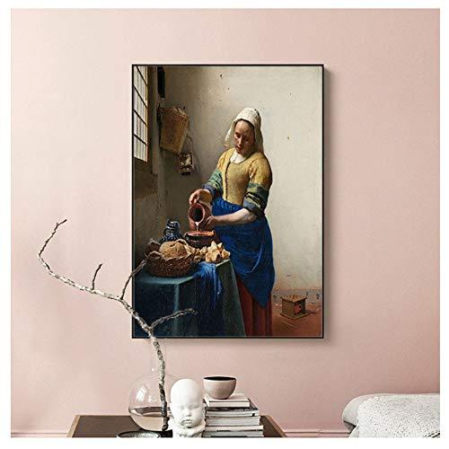 Klassieke Beroemde Olieverf De Melkmeisje Muur Canvas Schilderij Foto voor Woonkamer Design Decor-40x60cm-frameloze