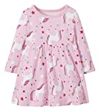 Moon and Back by Hanna Andersson Girls' Toddler Organic Cotton Long Sleeve Knit Dress, Unicorn, 3T