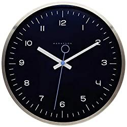 No-Ticking Wall Clock by Crosby - 12 inch Quartz Silent Clock - Stainless Steel, Premium Grade, High End Mechanism - Modern Minimalist - for Kitchen, Office, Living Room, Bedroom & Kid's Room