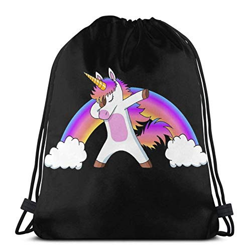 WH-CLA Drawstring Bags Dabbing Unicorn Dab Cute Rainbow Girl Travel Drawstring Backpack Unique Outdoor Print Sport Bag Drawstring Bags Gym Casual Durable Gym Sack Yoga Shopping Men Cinch
