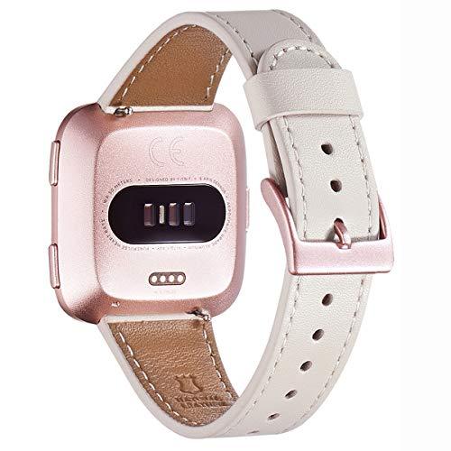 WFEAGL für Fitbit Versa Armband,Top Grain Lederband Ersatzband mit Edelstahl-Verschluss für Fitbit Versa/Versa 2 /Versa Lite/Versa SE Fitness Smart Watch(Elfenbein Weiße Band+Roségold Buckle)