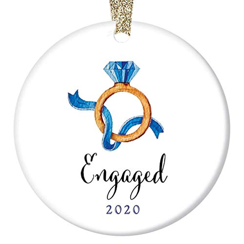 Engagement Ring Christmas Ornament 2020 Engagement Party Present First Holiday Engaged Couple Future Mr Mrs Bride Groom Pretty Ceramic Keepsake