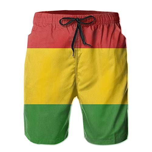 SARA NELL Men's Swim Trunks Reggae Rasta Flag Surfing Beach Board Shorts Swimwear White