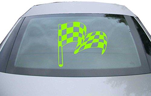 INDIGOS UG - Aufkleber Heckscheibe & Motorklappe DE2529 - neongrün - 600x549 mm - Zielflagge - Auto Scheiben Fenster Heckklappe Tuning Racing JDM - Die Cut