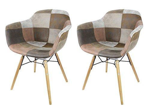 Meubletmoi - Juego de 2 sillones de patchwork con efecto envejecido, piel suave, estilo vintage, estilo industrial, Factory y Simon