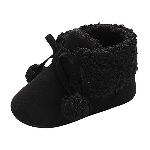 Baby Kids Shoe,Fineser Toddler Baby Girl Boy Hair Ball Soft Premium Bandage Snow Boots Warm Fur Winter Shoes (Black, 12-18M)