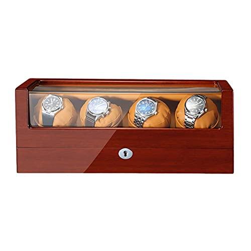 RTYUIO Caja enrolladora de Reloj para Relojes automáticos Pintura de Piano de Madera Exterior Cuero de PU Suave Adaptador de Almohadas para Reloj y Funciona con Pilas