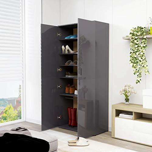 Cikonielf - Zapatero de madera aglomerada, 80 x 39 x 178 cm, mueble zapatero con 2 puertas, 6 estantes y una barra colgante para la entrada de dormitorio, gris brillante
