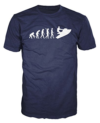 Jet Ski Evolution Funny T-shirt (L, Navy Blue)