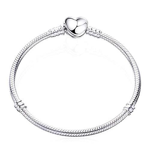 Baostic Armschmuck Hot Silver Plated 3Mm Basic Snake Chain Fit Pan Bracelet DIY Charms Beads Jewelry Original Bracelets & Bangles Styles 08 18cm