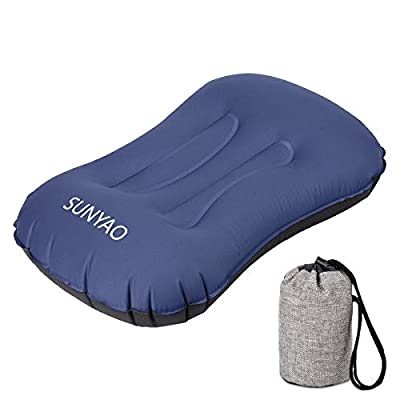 SUNYAO Ultralight Inflatable Camping Pillows - Compressible, Compact, Inflatable, Comfortable, Ergonomic Pillow for Neck & Lumbar Support While Camping, Backpacking?Hiking (Blue 01)