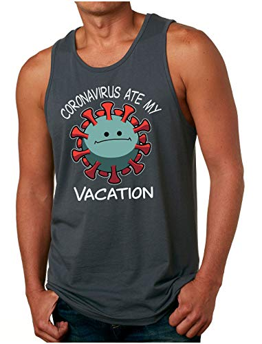 HARD EDGE DESIGN Men's The Virus Ate My Vacation Tank Top, Large, Heavy Metal
