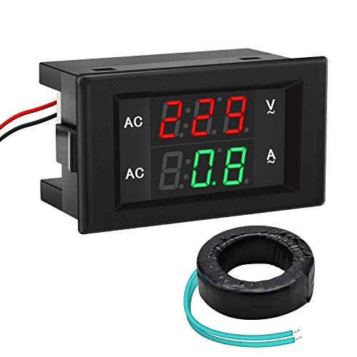 Volt Amp Meter, DROK AC 500V 200A Digital Voltmeter Ammeter Panel, 0.39 Inches LED 2in1 Multimeter, 2-Wire Voltage Amperage Tester Gauge with Current Transformer