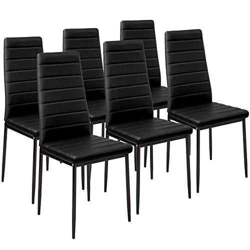 TecTake Lot de Chaise de Salle à Manger 41x45x98,5cm - diverses Couleurs et modèles au Choix - (6X Noir   No. 401848)