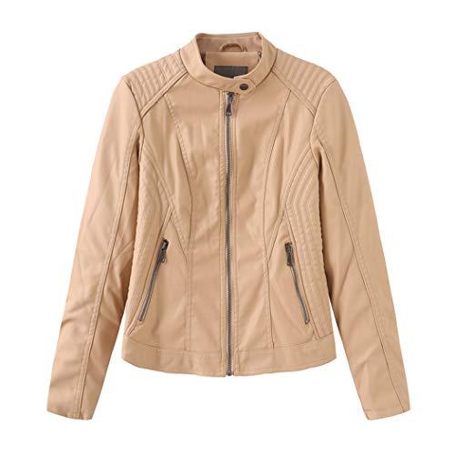 N / A Frauen-Kragenlose Lederjacke, Herbst-Winter-Mode Biker Oberbekleidung Jacke Lederjacke Frauen,B3,L